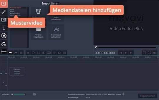 Wählen Sie Videodateien für Movavis App, um Split-Screen zu machen