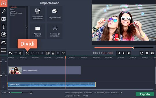 Aggiungete audio ai video con Movavi Video Editor