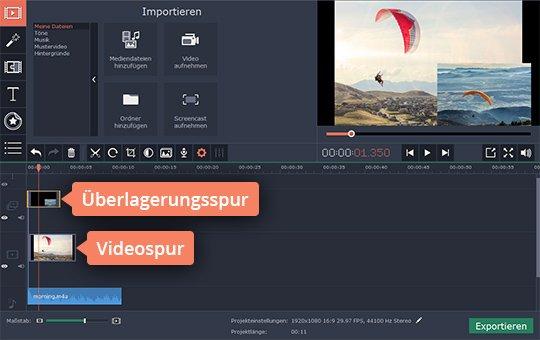 Platzieren Sie Videodateien in Movavis App für Bild-in-Bild-Effekt
