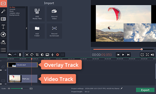 To play two videos side by side, put one of the videos under another on the timeline to create an overlay track