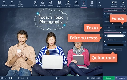 Cree imágenes con textos en el programa de Movavi fácil de usar