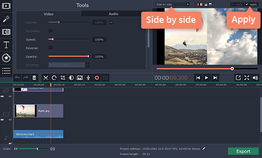 Choose how the split screen will appear in your video