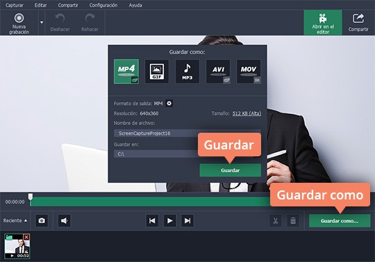 Capture vídeo de la pantalla de su ordenador con Movavi