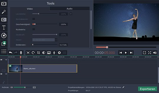 Probieren Sie, mit Movavi den Video-Hintergrund zu ändern