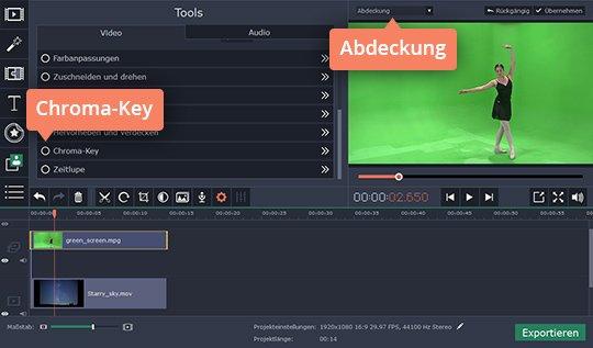Benüzen Sie Movavi Video Editor als Green-Screen-Software