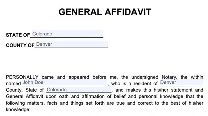sample affidavit form in the pdf format