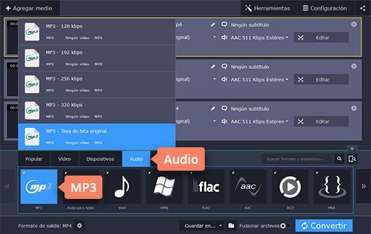 Use el programa para pasar de M4A a MP3 de Movavi