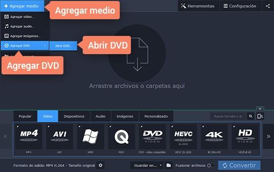 Convierta sus archivos DVD a MP4 con el convertidor poderoso de Movavi