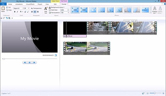User Interface of Windows Movie Maker