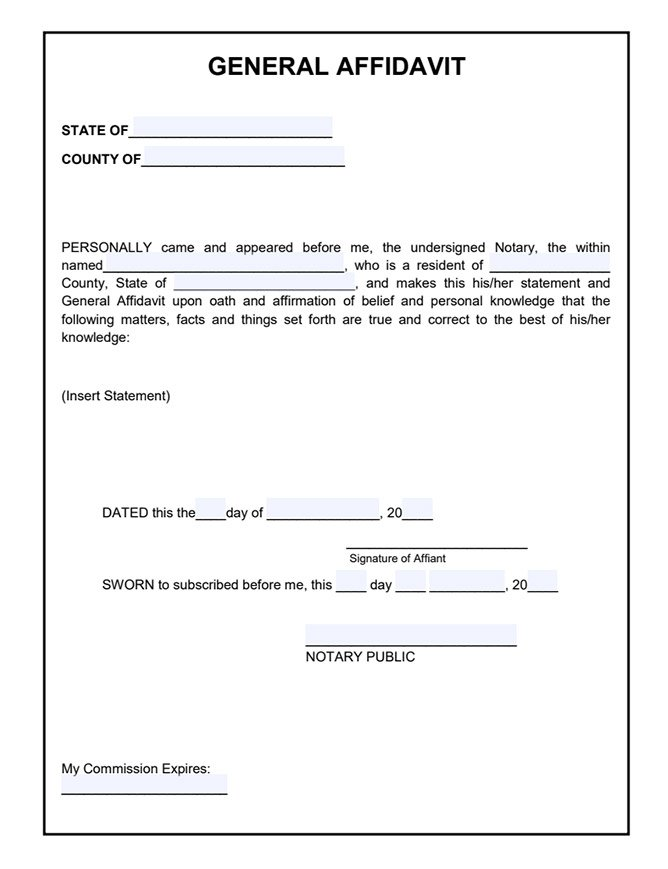sample of affidavit form free general affidavit template