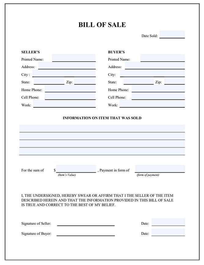 Sample of Affidavit Form | Free General Affidavit Template