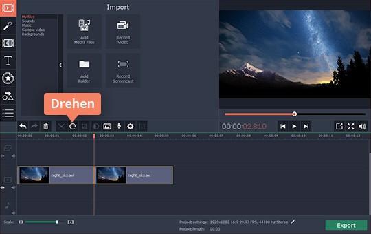 Verwenden Sie das Video-Drehen-Programm von Movavi