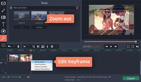 Right-click the keyframe to edit the zoom-in video effect