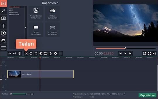Wählen Sie Fragmente in Ihrem Clip für Video-Drehen