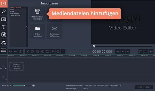 Fügen Sie Dateien hinzu, um in Movavis App das Video stabilisieren