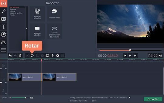 Rote un vídeo rápidamente con el editor sencillo de Movavi
