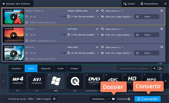 Convertissez vos fichiers en WMV et d'autres formats avec Movavi