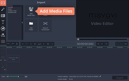 Import your files for video rotation