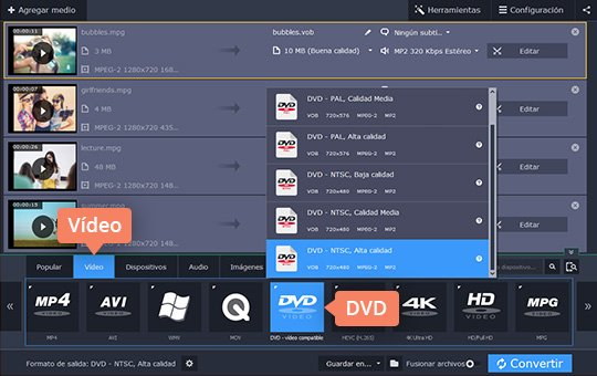 Use el sencillo convertidor de vídeos a DVD de Movavi