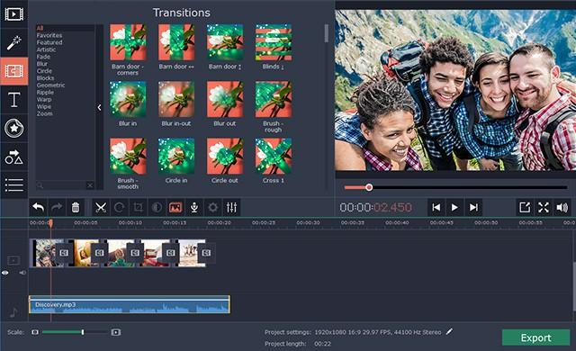 A screenshot of Movavi Video Editor 14 Plus