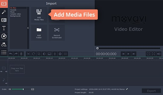 Add your files to the stabilize shaky video