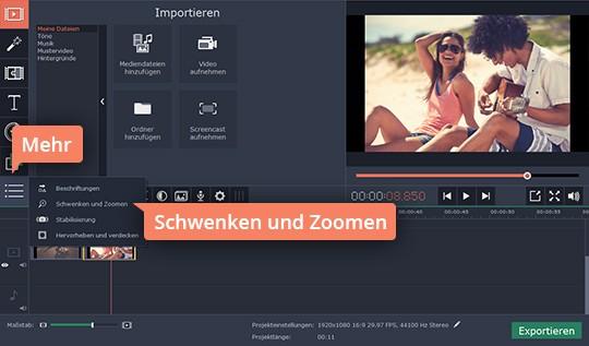 Benützen Sie Movavis App, um Video zu zoomen