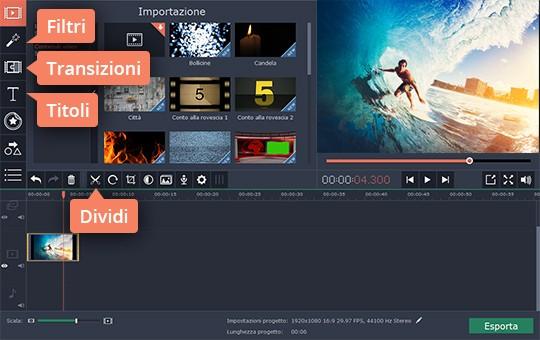 Provate il software per montaggio video di Movavi