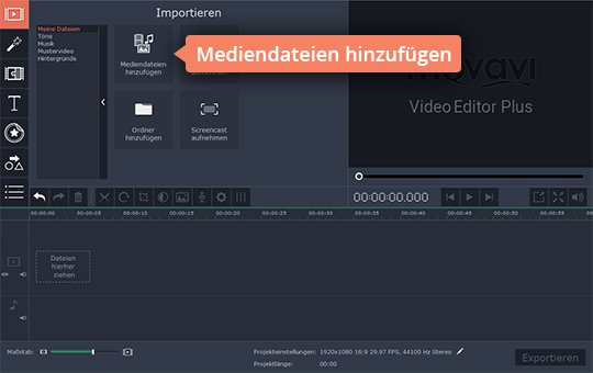 Setzen Sie Medien hinzu, um Montage-Video zu machen