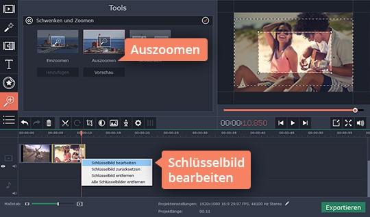 Ändern Sie Zoom-Einstellungen, um Ihr Video zu vergrößern