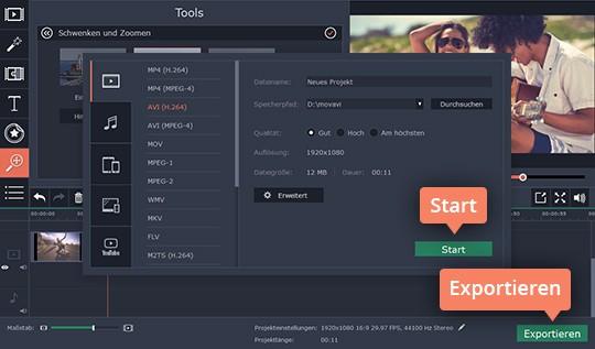 Speichern Sie Ihr Zoom-Video in Movavi Video Editor