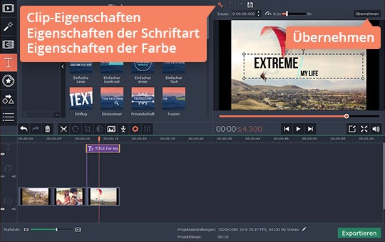 Klicken Sie auf Clip-Eigenschaften, wenn Sie den Text ins Video einfügen möchten