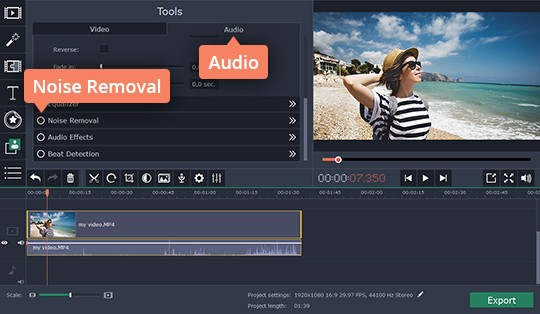 Use the audio noise reduction tool in the program