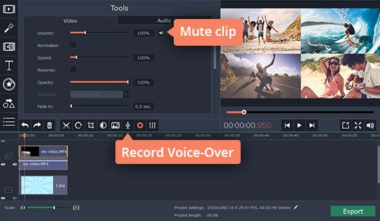 Manage the audio in the video collage maker for PC