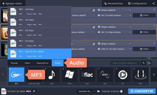 Pase un vídeo a MP3 en el programa de Movavi Video Converter