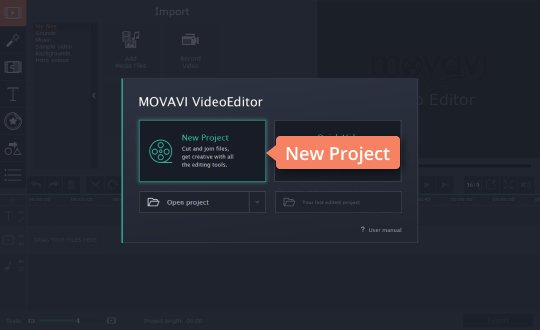 Start creating a new project in Movavi's YouTube intro maker