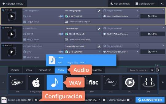 Use el programa de Movavi para convertir audio a WAV