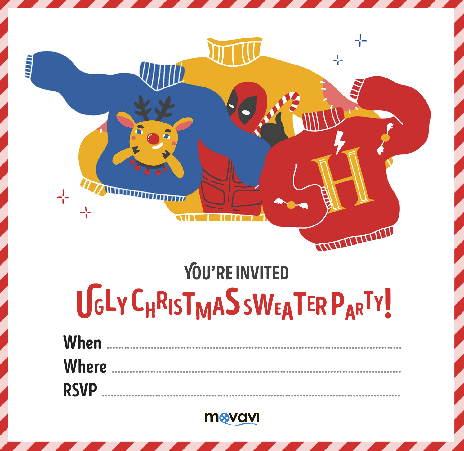 Ugly Christmas Sweater Party Invitations Template Free