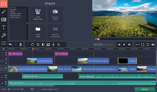Intuitive interface of Movavi Video Editor Plus