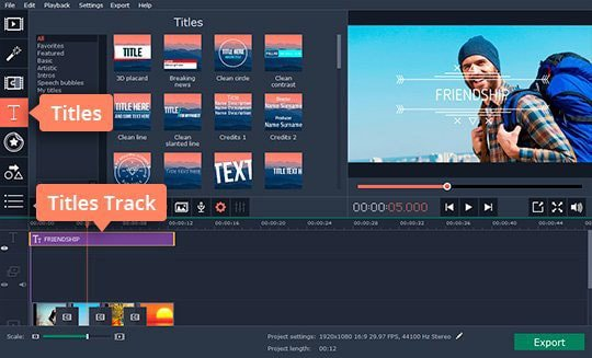 Add text to your movie in this video editing software with transitions