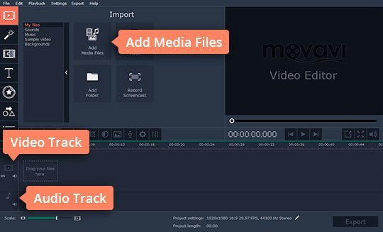 Add your media files to the transition editor