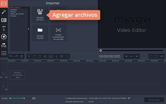 Agregue archivos al programa para hacer vídeos de Movavi