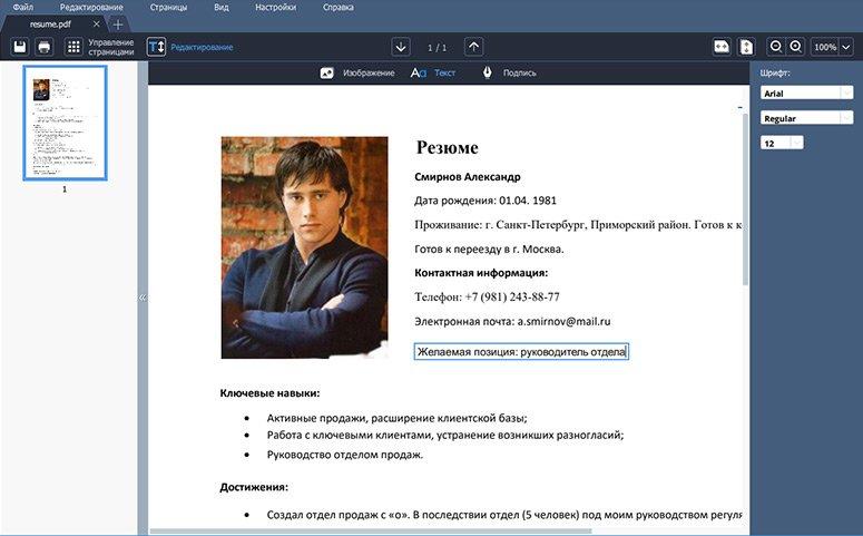 Напечатайте текст на странице PDF