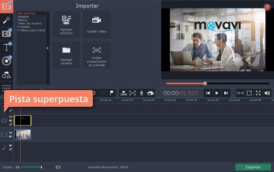 Ponga un logo en un vídeo rápidamente en el programa de Movavi
