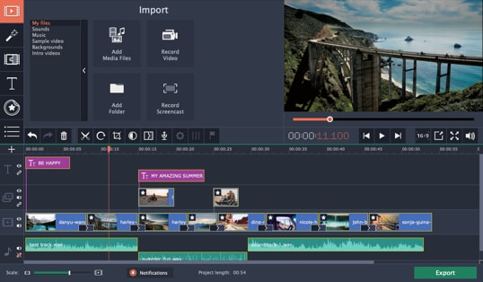 User interface of Movavi Video Editor Plus, a program like Windows Movie Maker